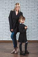 Пальто для девочки кашемировое черное