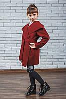 Пальто для девочки кашемировое бордо, фото 1