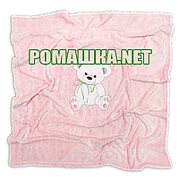 Детский махровый плед одеялко 100х85 см (мягкая, не петельная махра пушистая на ощупь) 3391 Розовый