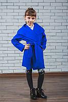 Пальто для девочки кашемировое электрик, фото 1