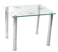 Журнально-обеденный столик С-25 каленое стекло прозрачное с рисунком, ножки хромированные