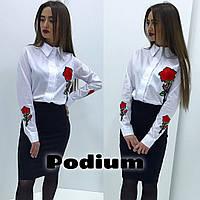 Нарядная, женская, хлопковая рубашка декорирована розой. РАЗНЫЕ ЦВЕТА