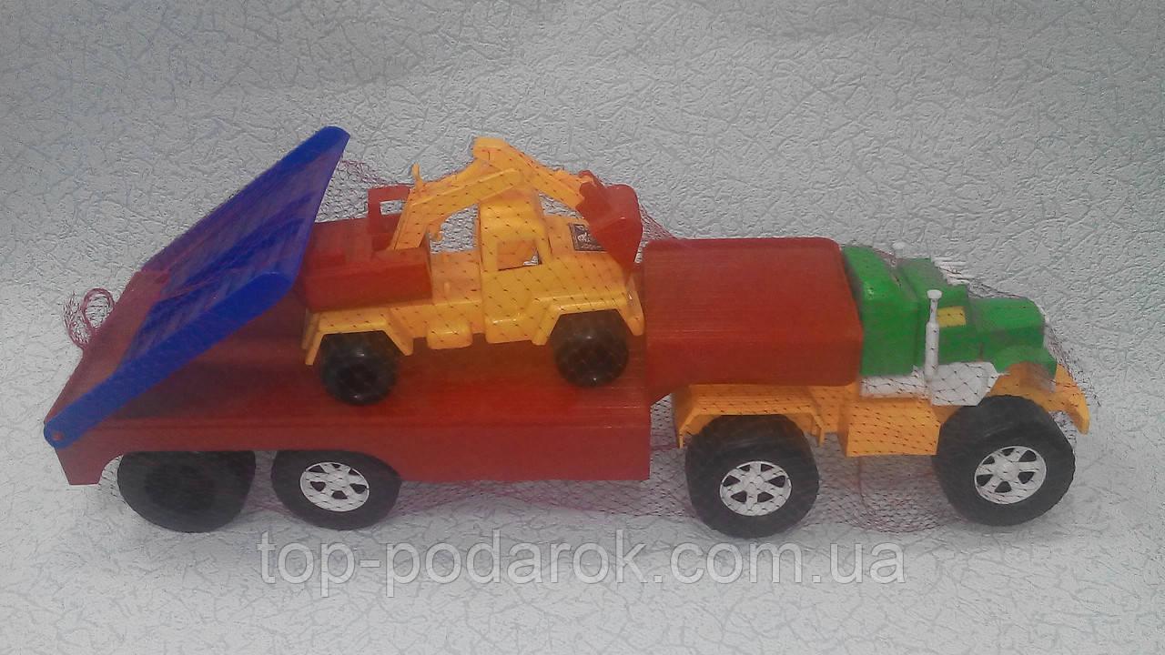 Игрушечный большой автовоз с экскаватором