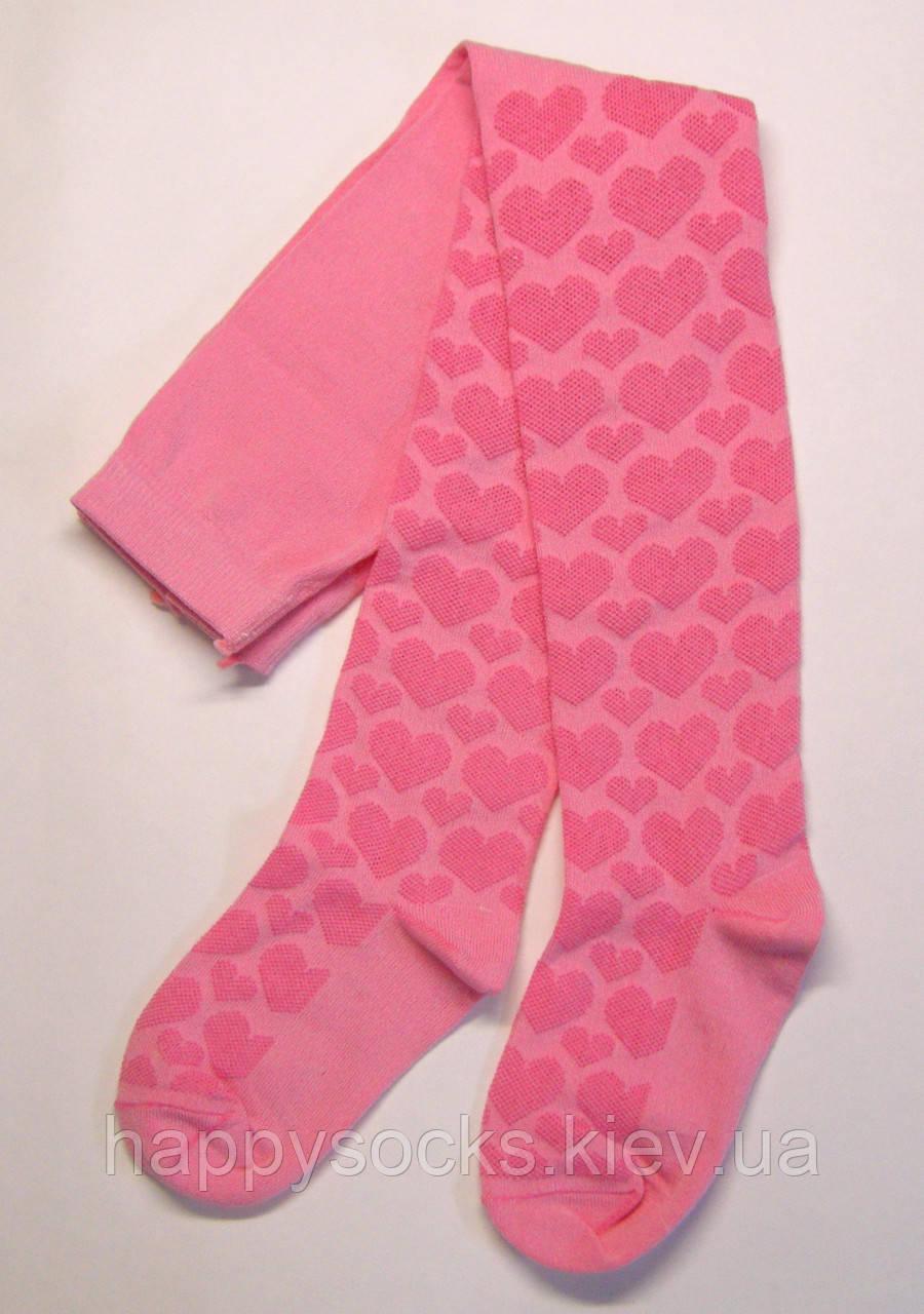 Розовые детские демисезонные ажурные колготки в сердечки