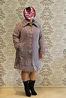 Пальто  женское  подклада  флис  стильное очень  красивый  светло сиреневый  цвет