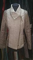 Куртка  женская  стильная  демисезонная  светло  коричневого  цвета
