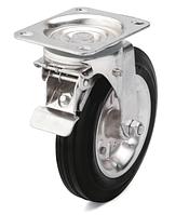 Колеса металлические с литой черной резиной, диаметр 200 мм, с поворотным кронштейном и фиксатором