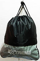 Сумки - затяжки для обуви для школы 42х38х9 (ЧЕРНЫЙ - с - СЕРЫМ)