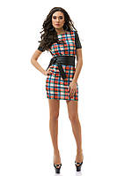 Стильное молодежное платье с кожаной отделкой.  Разные цвета.