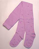 Детские ажурные колготки сиреневого цвета в сердечки