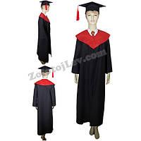 Мантия выпускника черная с красным воротником