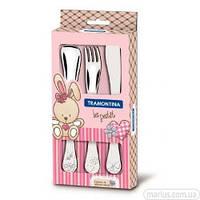 66973/005 Набор столовых приборов Tramontina baby Le Petit pink