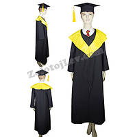 Мантия бакалавра с желтым воротником