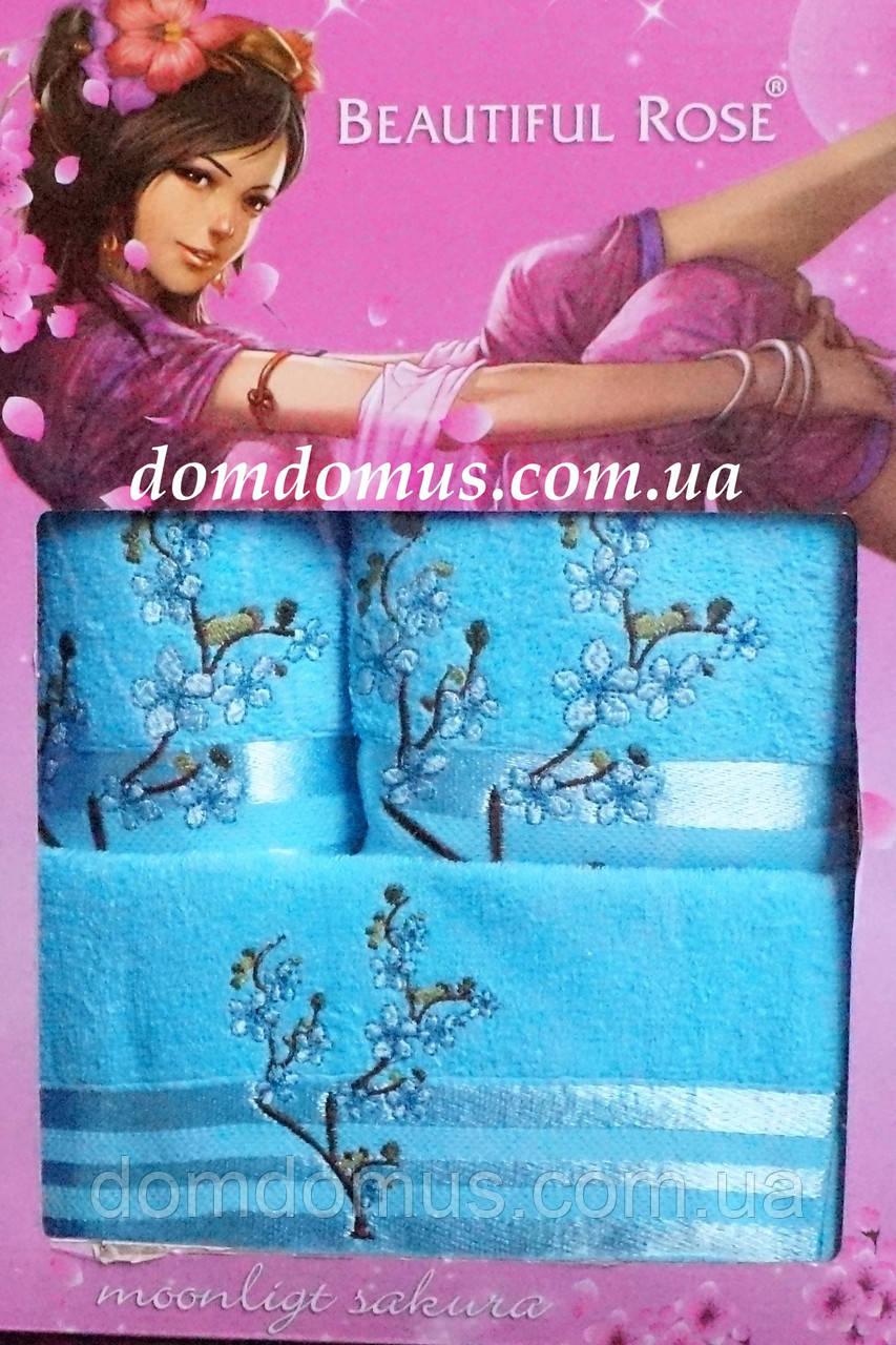 Подарочный набор махровых полотенец 3 шт, Beautiful Rose, бирюзовый