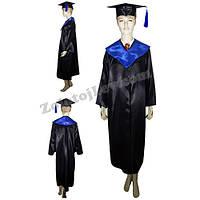 Мантия выпускника черная с синим воротником
