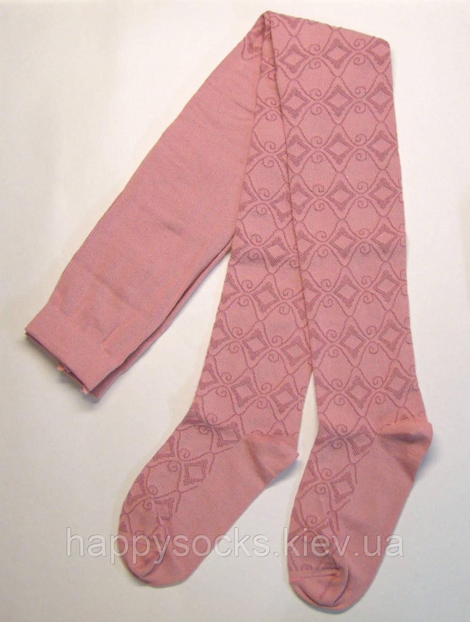 Колготки розового цвета хлопковые с ажурным узором