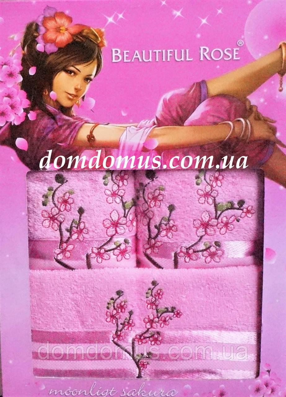Подарунковий набір махрових рушників 3 шт, Beautiful Rose, рожевий