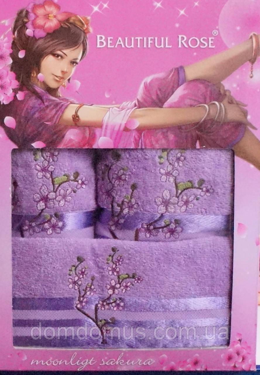 Подарочный набор махровых полотенец 3 шт, Beautiful Rose, сиреневый