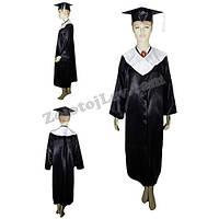 Мантия выпускника черная с белым воротником