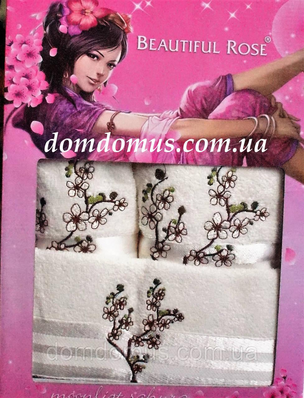 Подарочный набор махровых полотенец 3 шт, Beautiful Rose, молочный