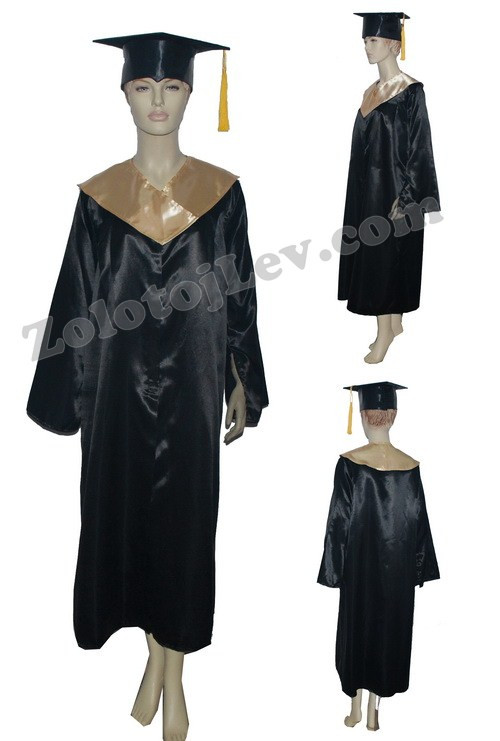 Мантия магистра черная с золотым воротником