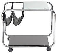 Мобильный кофейный столик L-20 с газетницей, каленое стекло, каркас хромированный металл, на колесиках