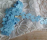 Декоративная лента Ромашки голубые 1,9 см, 1 ярд