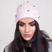 Женская шапка с бусинками на весну 2017 - Артикул 2056 (светло-розовая)