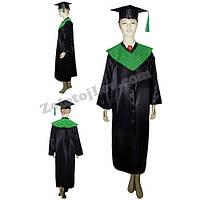 Мантия магистра черная с зеленым воротником