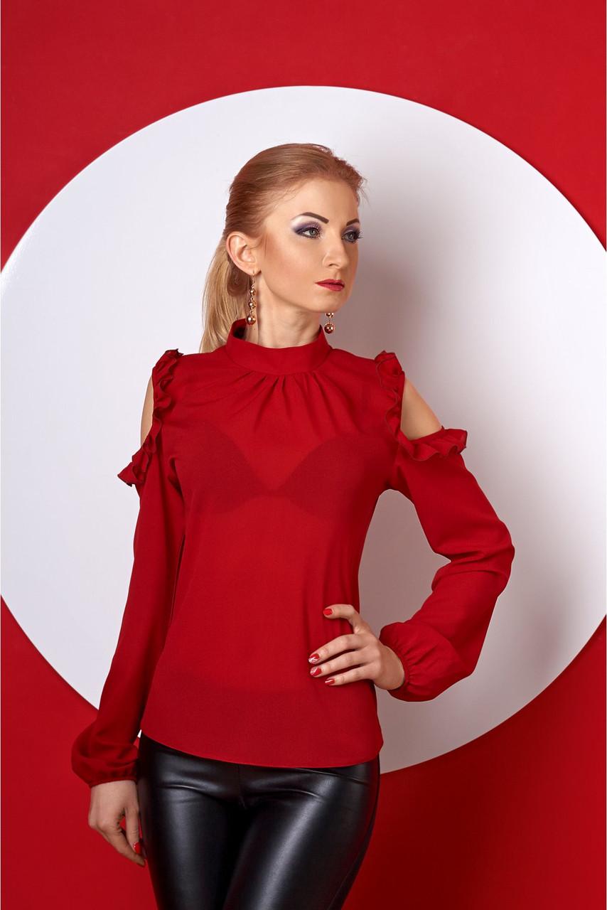 Лёгкая женская блуза с рюшами из креп-шифона
