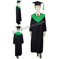 Мантия выпускника с зеленым воротником