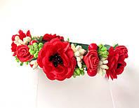 Обруч веночек ручной работы с маками, красными розами и ягодками