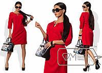 Элегантное полуприталенное платье (костюмка, длина мини, рукава 3/4, декольте, декор украшение) РАЗНЫЕ ЦВЕТА!