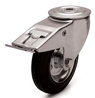 Колеса металлические с литой черной резиной, диаметр 80 мм, с поворотным кронштейном с отверстием и фиксатором