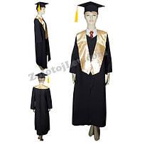 Мантия выпускника черная с золотым шарфом