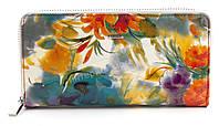 Стильный удобный женский лаковый кожаный кошелек барсетка высокого качества H. VERDE art. 2480-D84 яркие цветы