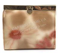 Маленький удобный женский лаковый кожаный кошелек высокого качества H. VERDE art. 2297-D57 розовые растения