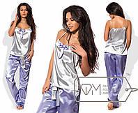 Нежная, женственная пижама (атлас, брюки, майка, тонкие бретельки, декор бант) РАЗНЫЕ ЦВЕТА!