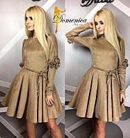 Роскошное, женское, замшевое платье (декор - тканевые розочки, с пышным подъюбником)  42-60р  РАЗНЫЕ ЦВЕТА