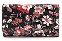 Небольшой удобный женский лаковый кожаный кошелек высокого качества H. VERDE art. 2345-E27 цветы под хохлому
