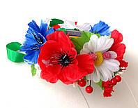 Обруч веночек ручной работы с крупными цветами и лентами