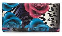 Удобный женский лаковый кожаный кошелек высокого качества H. VERDE art. 2536-E28 разноцветные цветы