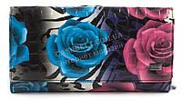 Вместительный женский лаковый кожаный кошелек высокого качества H. VERDE art. 2460-E28 разноцветные цветы