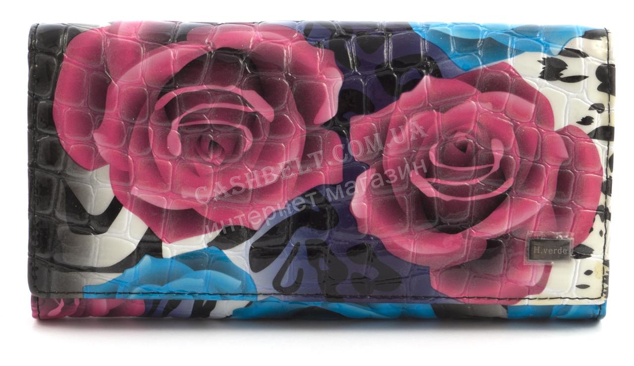 Місткий жіночий шкіряний гаманець лаковий високої якості H. VERDE art. 2551-E28 різнобарвні квіти