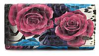 Місткий жіночий шкіряний гаманець лаковий високої якості H. VERDE art. 2551-E28 різнобарвні квіти, фото 1