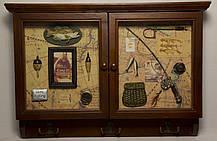 """Ключница  настенная, деревянная с крючками """" Рыбалка """", фото 2"""
