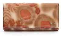 Классический женский лаковый кожаный кошелек высокого качества art. 2030-D57 розовые растения