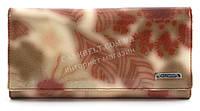 Удобный женский лаковый кожаный кошелек высокого качества  art. 2536-D57 розовые растения
