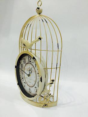 """Настенные металлические кварцевые часы в стиле """" Птичка в клетке """", фото 2"""