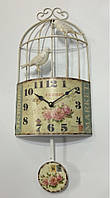 """Настенные металлические кварцевые часы с маятником в стиле """" Птичка в клетке """""""